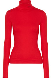 CALVIN KLEIN 205W39NYC Embroidered cotton-jersey turtleneck sweater