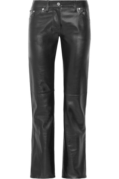 Straight high waist leather trousers