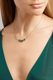 Brooke Gregson Orbit 18-karat gold, emerald and sapphire necklace