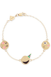 Celebration enameled 14-karat gold bracelet