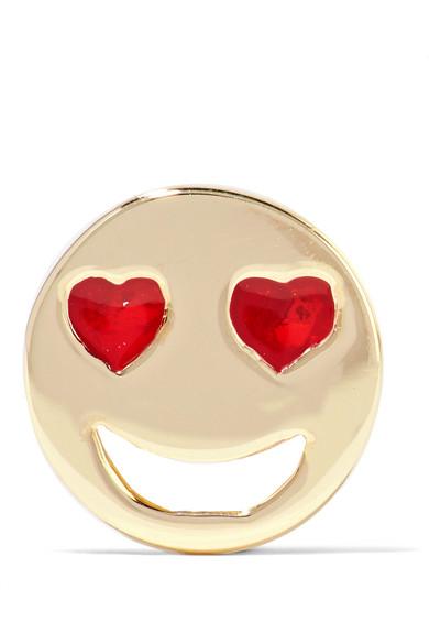 Alison Lou - Lovestruck Enameled 14-karat Gold Earring - one size