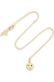 Alison Lou Small Crazy Face enameled 14-karat gold necklace
