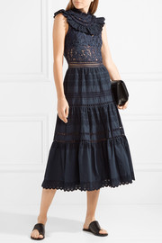 Fringed lace and crochet-trimmed cotton-poplin midi dress