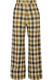 Cropped checked tweed wide-leg pants