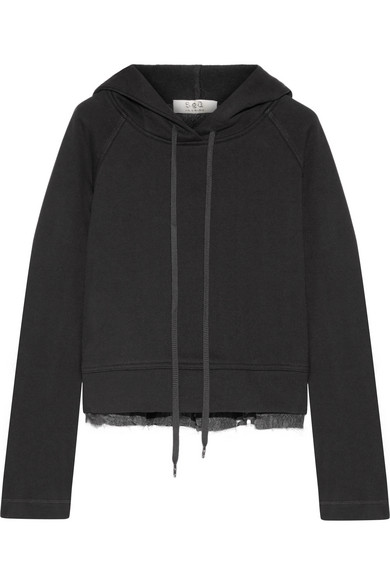 Best Cheap Sale Buy Cotton-jersey And Fil Coupé Chiffon Hooded Top - Black Sea New York Store ITdZo