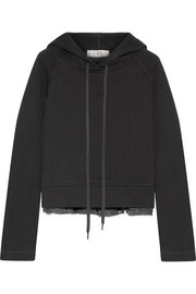 Cotton-jersey and fil coupé chiffon hooded top