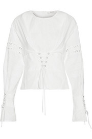 Crochet-trimmed lace-up broderie anglaise cotton blouse