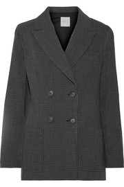 Prince of Wales checked wool-crepe blazer