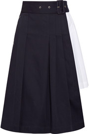 Pleated cotton-twill and poplin skirt