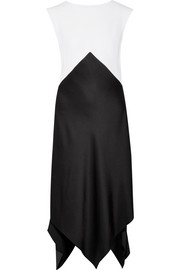 TOME Asymmetric two-tone satin-crepe midi dress