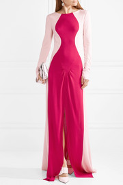 Two-tone textured-crepe gown