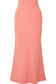 Stretch-crepe midi skirt
