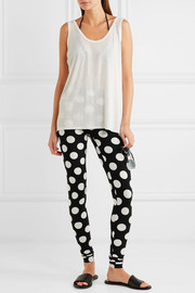 Norma Kamali Polka-dot stretch-jersey leggings