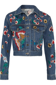 Alice + Olivia Chloe embroidered sequined denim jacket