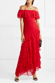 Alice + Olivia Elioisa ruffled off-the-shoulder silk-chiffon gown