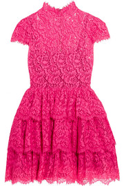 Alice + Olivia Ruffled cotton-blend corded lace mini dress