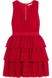 Alice + Olivia Clora tiered corded lace mini dress