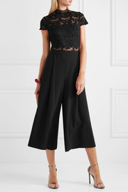 Alice + Olivia Elysia stretch-lace and crepe jumpsuit