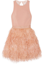 Alice + Olivia Philomena feather-embellished cady and lace mini dress