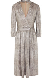 Alice + Olivia Katina metallic ribbed-knit dress