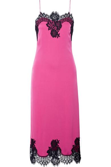 Alice Olivia - Luna Lace-trimmed Stretch-silk Midi Dress - Pink