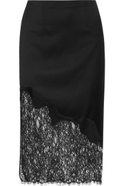 Alice + Olivia Evana lace-paneled wool-blend crepe skirt