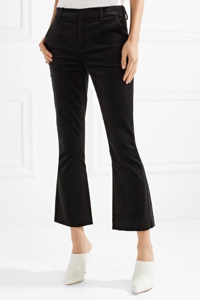 Cropped Cotton-blend Velvet Bootcut Pants - Black Frame Denim Best Sale sBtH8kcB