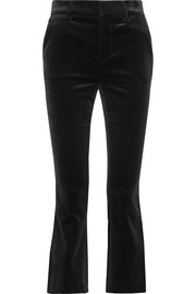 FRAME Cropped cotton-blend velvet bootcut pants