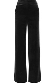 Cotton-blend velvet wide-leg pants