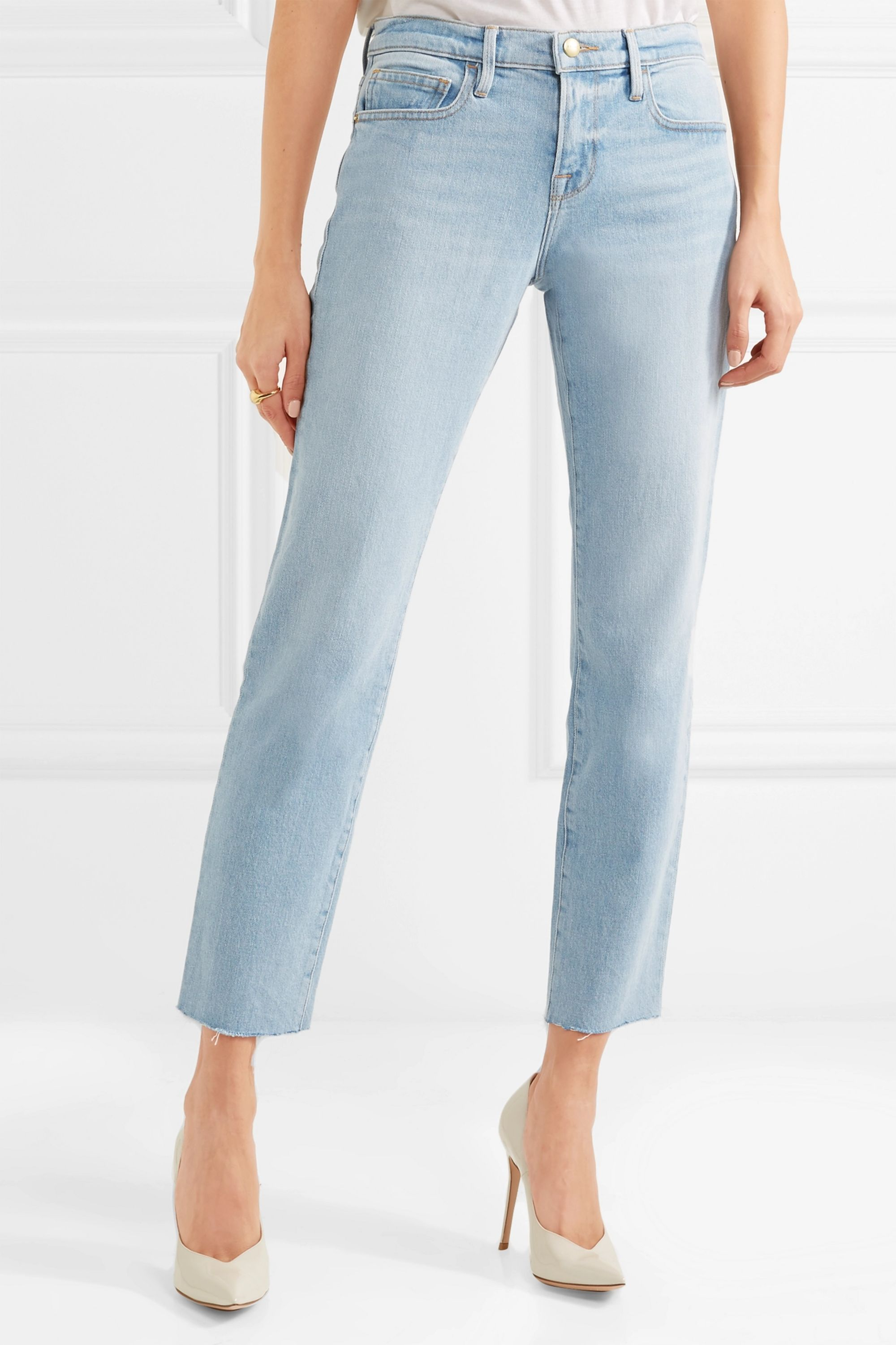 FRAME Le Boy cropped mid-rise straight-leg jeans