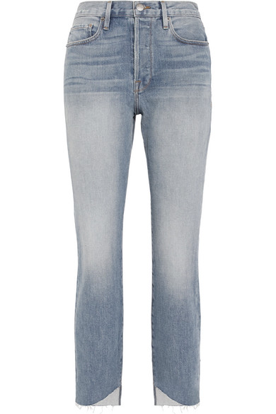 Le Original Reverse Cascade Distressed High-rise Straight-leg Jeans - Light denim Frame Denim hVafPky