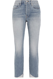 FRAME Le Original Reverse Cascade distressed high-rise straight-leg jeans