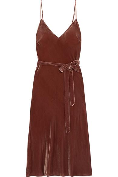 frame belted velvet midi dress net a portercom - Dress Frame
