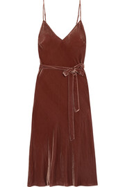 Belted velvet midi dress