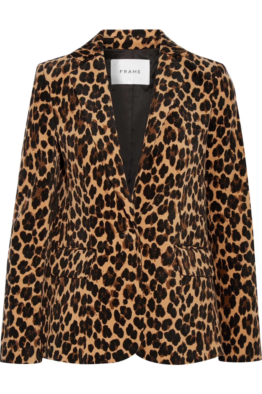 FRAME Leopard-print cotton-blend velvet blazer