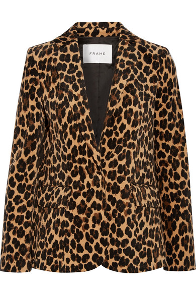 FRAME - Leopard-print Cotton-blend Velvet Blazer - Leopard print