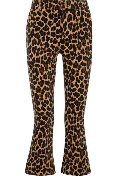 5479c166d08a FRAME | Cropped leopard-print cotton-blend velvet flared pants | NET ...