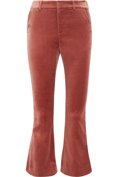 FRAME - Cropped Cotton-blend Velvet Flared Pants - Brick