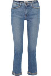 FRAME Le High studded cropped straight-leg jeans