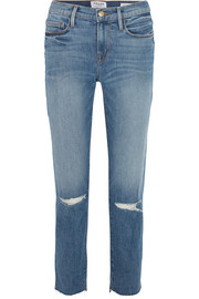 Le Nouveau distressed high-rise straight-leg jeans