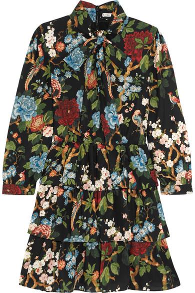Alice + Olivia Breann gestuftes Kleid aus glänzendem Crêpe mit Blumenprint