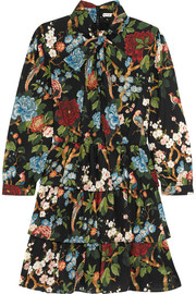 Alice + Olivia Breann tiered floral-print satin-crepe dress