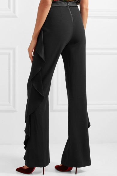 Wallace Satin Ruffled-trimmed Crepe Wide-leg Pants - Black Alice & Olivia fs9pAqyEvr