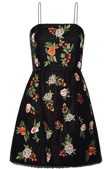 Alice Olivia - Launa Lace-trimmed Embroidered Velvet Mini Dress - Black