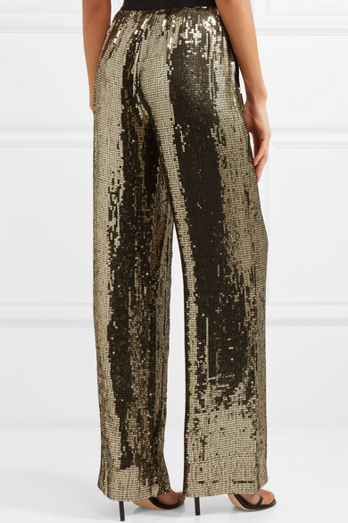 Alice + Olivia Racquel Pants With Wide Leg From Satin Sequined