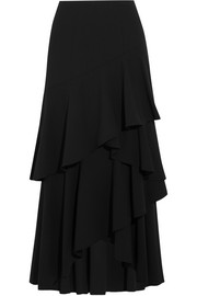 Alice + Olivia Martina asymmetric ruffled crepe maxi skirt