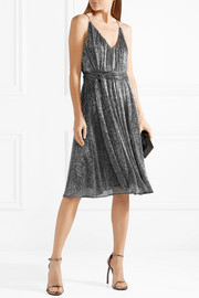 Halston Heritage Plissé-Lurex dress