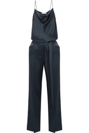 Draped satin jumpsuit