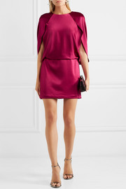 Halston Heritage Cape-effect satin mini dress