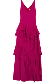 Halston Heritage Tiered ruffled crepe maxi gown